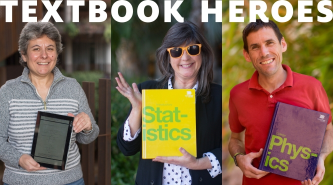 Composite of three images showing UA professors holding the open textbooks they use