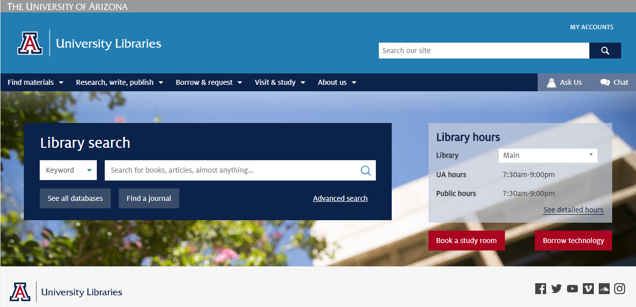 screenshot of new library homepage with basic search box