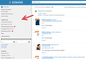 Screenshot from Summon search results showing filters for content type, publication date, and discipline.