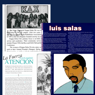 Collage of three yearbook articles