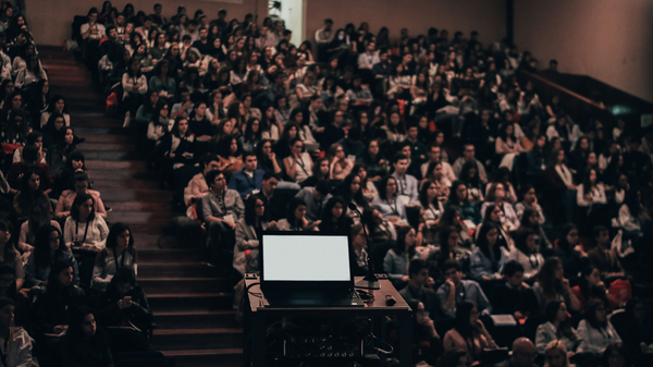 Computer and audience during presentation