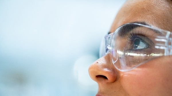 researcher wearing goggles