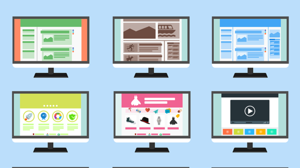 cartoon graphic of nine monitors with different websites