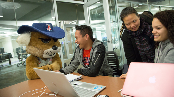 Wilbur and students in study room
