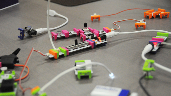 Close up shot of circuit boards and wires from a littleBits Kit