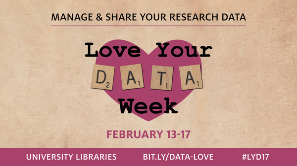 Manage & share your research data. Love your DATA week, February 13-17. Bit.ly/data-love or #lyd17