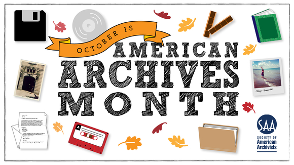 American Archives month banner showing different archival materials
