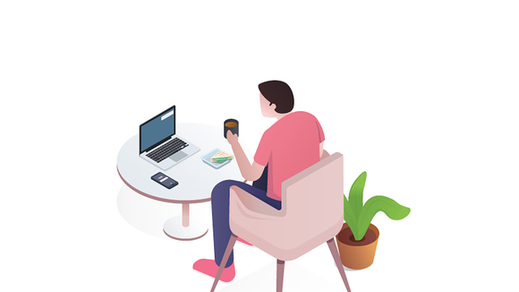 cartoon character sitting at a table with a laptop and phone