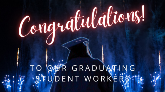 graduate in cap and gown with fireworks in the sky, including 'Congratulations!'