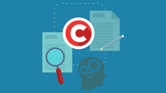Copyright symbol, magnifying glass, documents, head with gears