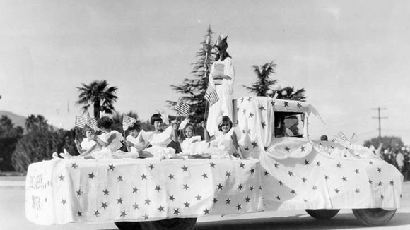 Girls on parade float