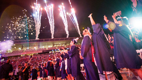 Students and fireworks at commencement