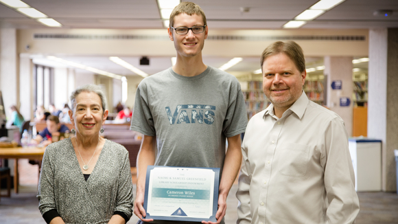 Photo of awardee with Shan Sutton and Louise Greenfield