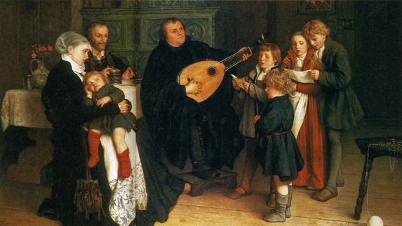 Gustav Spangenberg, Luther im Kreise seiner Familie musizierend (Luther Making Music in the Circle of His Family), circa 1875