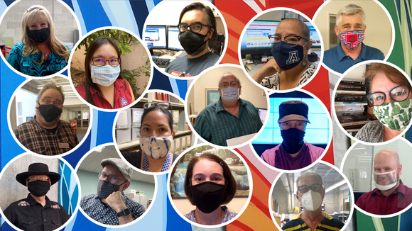 collage of photos of staff wearing face coverings