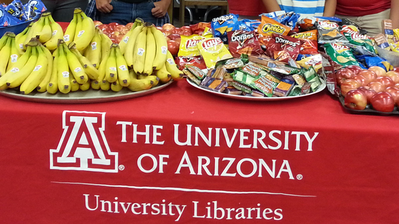 Library volunteers ready to hand out snacks