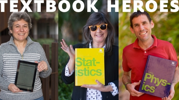 Textbook heroes: Composite of three images showing UA professors holding the open textbooks they use