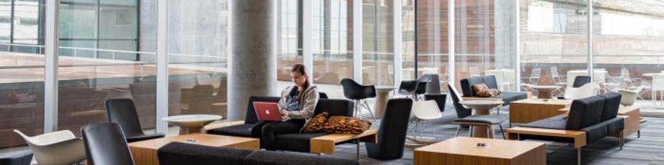 open study space at library