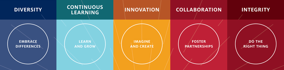 Graphic showing five values: diversity, continuous learning, innovation, collaboration, integrity