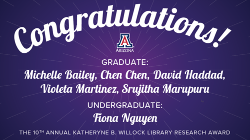 Graphic with purple background, Congratulations! and names of six student winners