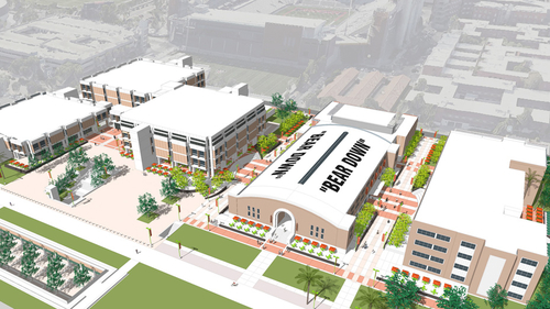 Rendering of Main Library, Bear Down Gym, and Science-Engineering Library
