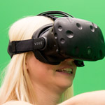 Close up image of woman wearing virtual reality headset